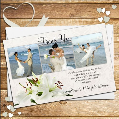 10 Personalised White Lily Flower Wedding Thank you Photo cards N90